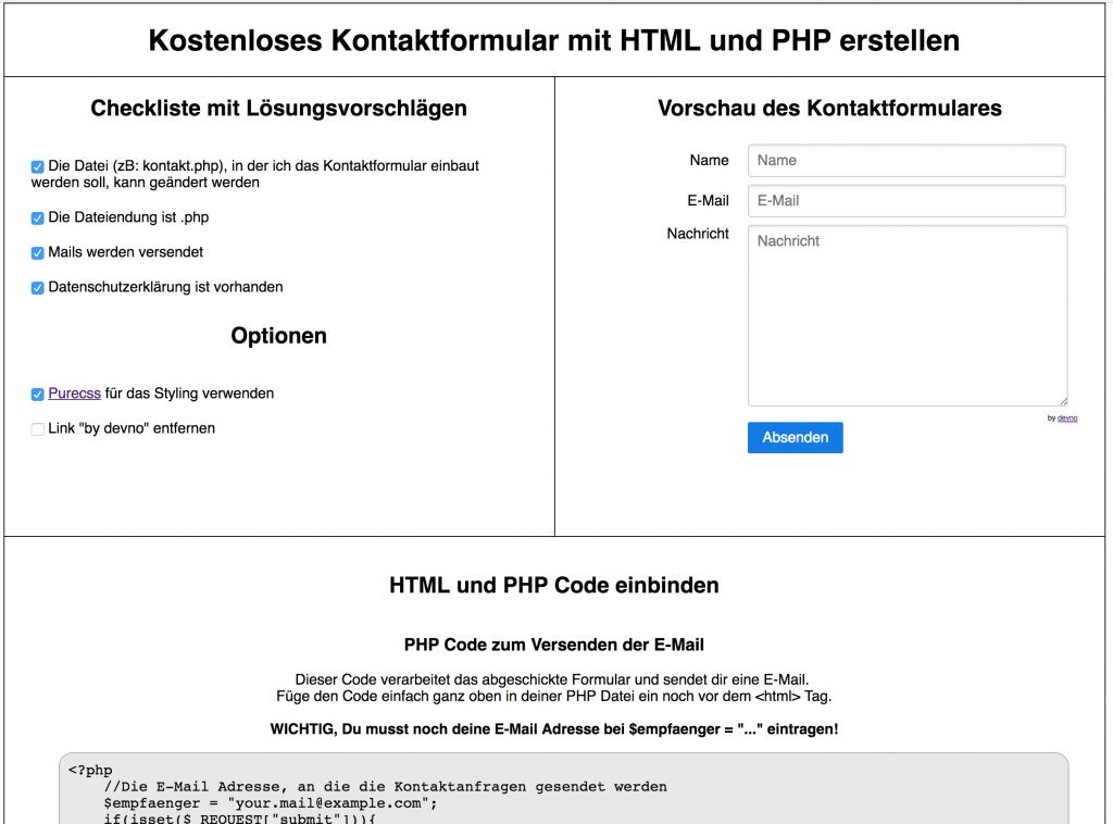 Kostenloses Kontaktformular mit HTML und PHP
